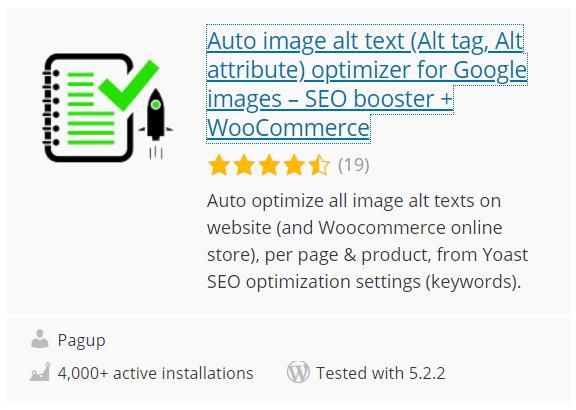 Оптимизатор автоматического текста для изображений Alt (Alt tag, Alt attribute)